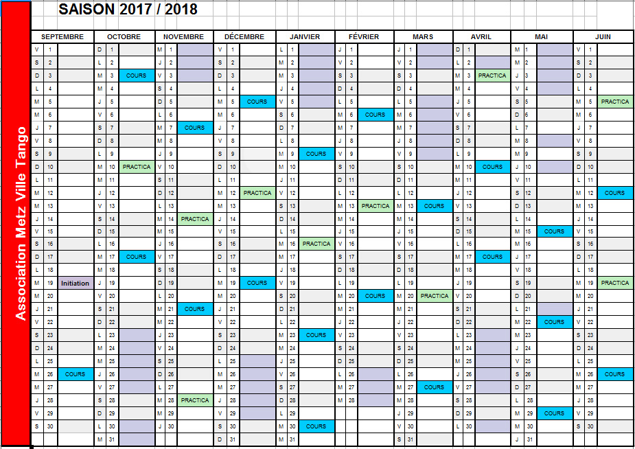 calendrier cours